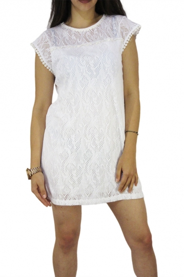 Rag mini lace dress white