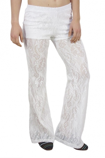 Rag flared lace pants white
