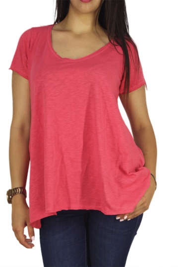 21 degrees A-line slub top fuchsia