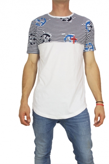 Crossover men's longline t-shirt white with striped panel