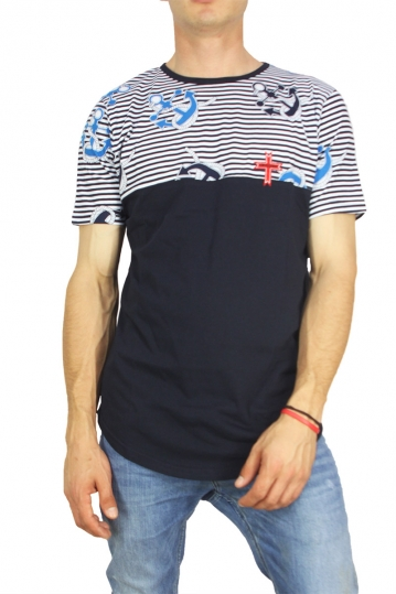 Crossover men's longline t-shirt navy with striped panel