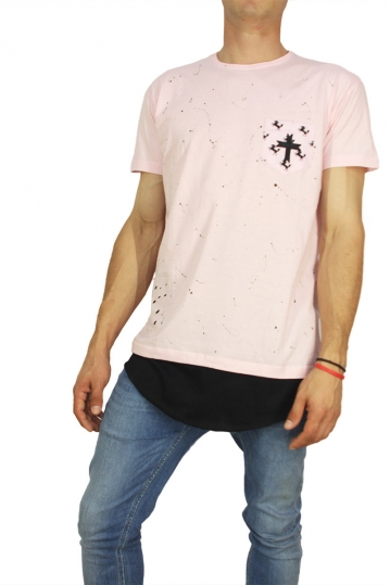 Crossover men's longline t-shirt pink