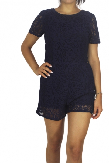 Mismash Banshees lace playsuit blue