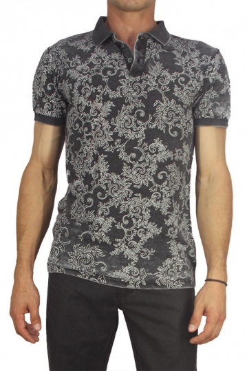 Men's slim fit polo shirt charcoal