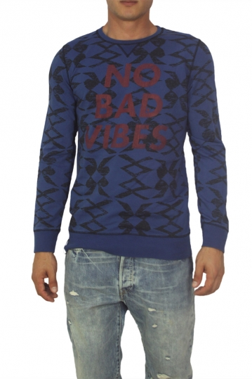 Best choise No bad vibes long sleeve tee blue