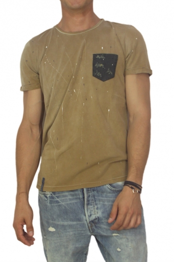Best choice chrome men's splashes T-shirt camel
