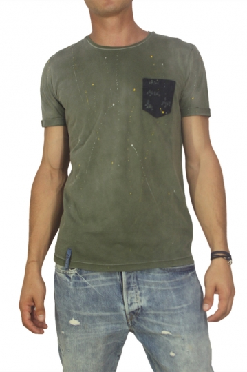 Best choice chrome men's splashes T-shirt olive green