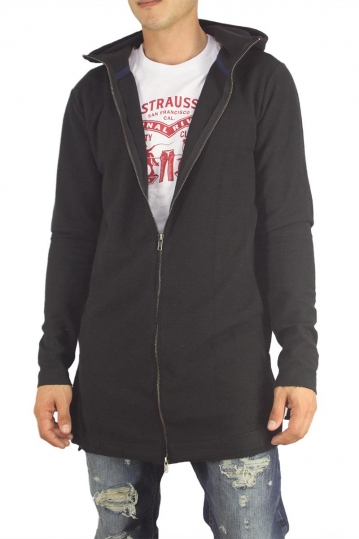 Anerkjendt Ragnold longline zip up hooded sweatshirt cavier