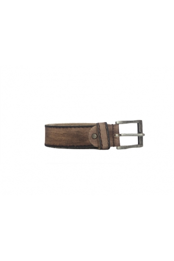 Vintage leather belt brown with contrast outline