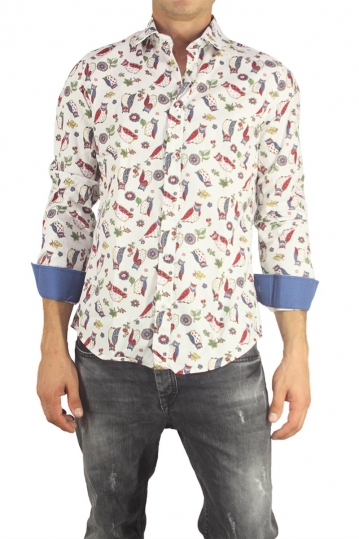 Missone men's shirt white with owls print
