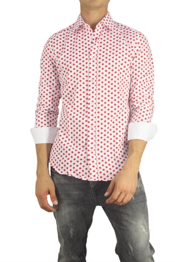 Missone men's shirt white with red polka dots
