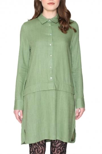 Pepaloves Melania long sleeved shirt dress green