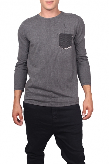 Men's grey-black herringbone long sleeve tee
