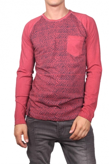 Men's aztec print long sleeve tee red