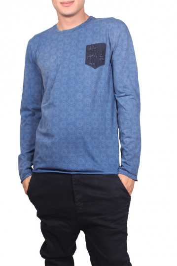 Men's chest pocket long sleeve tee blue