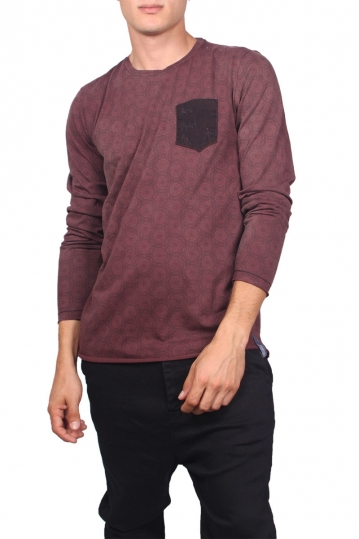 Men's chest pocket long sleeve tee bordeaux