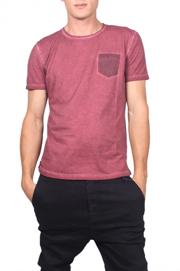 Best choice Self men's pocket T-shirt stone washed bordeaux