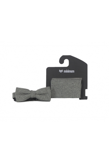 Minimum Bow tie and pocket square in grey melange