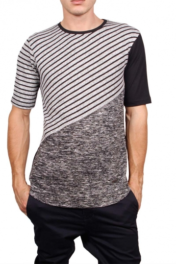 3PLAY stripe panel longline t-shirt