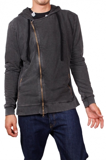 Biker style hooded sweatshirt in stone washed charcoal