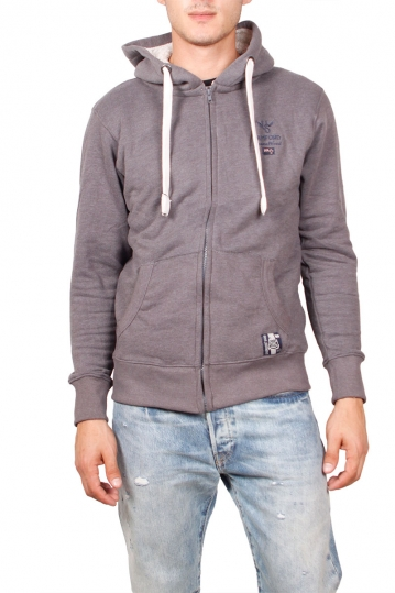 Men's zip up hoodie dark grey marl with fluffy fleece
