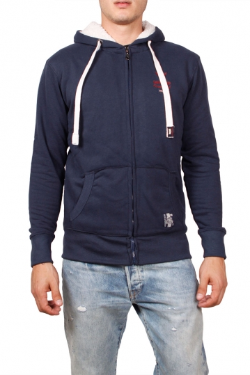 Men's zip up hoodie navy with fluffy fleece