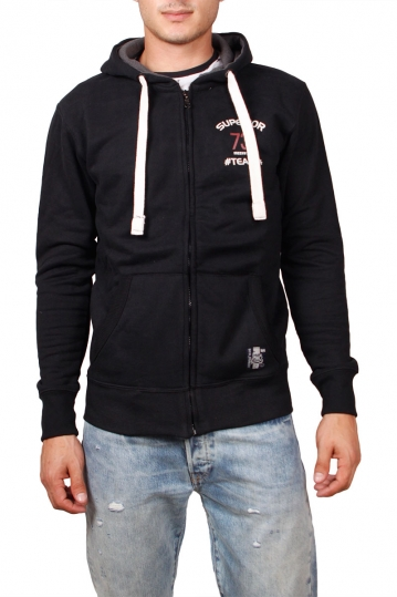 Green Wood men's zip up hoodie in black