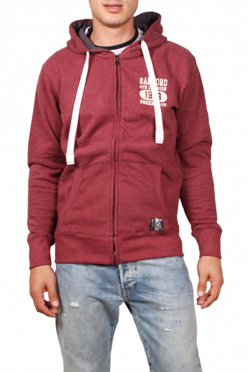 Men's zip up hoodie in bordeaux melange