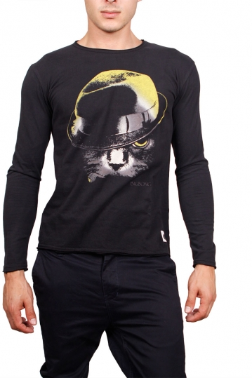 Bigbong long sleeve tee Cat with hat print black