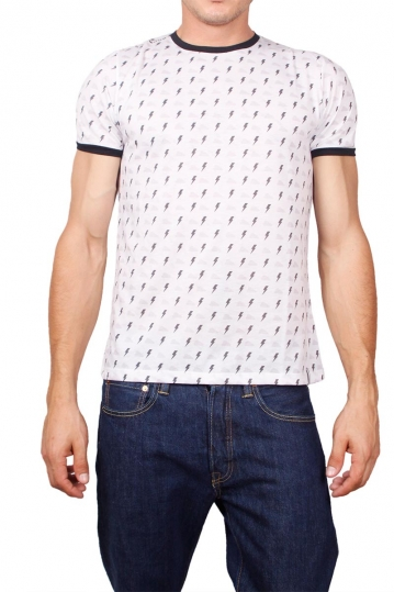 French Kick T-shirt white with all over Zap print