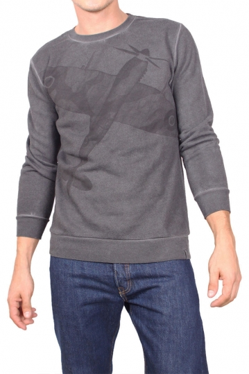 French Kick sweatshirt Looping stone washed grey