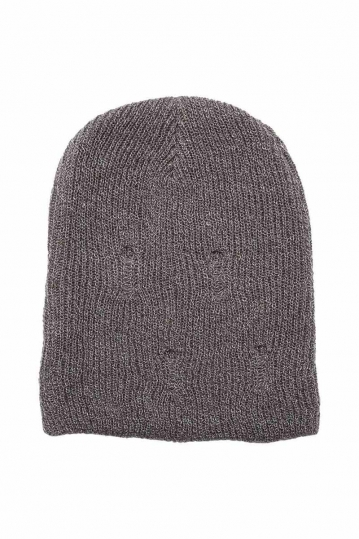 Globe long beanie Donovan grey melange with holes