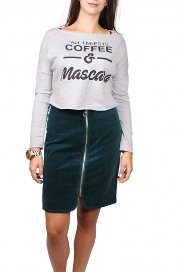 Migle + me crop sweatshirt All i need is coffee