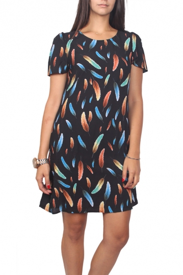Migle + me short sleeve mini dress black with feather print