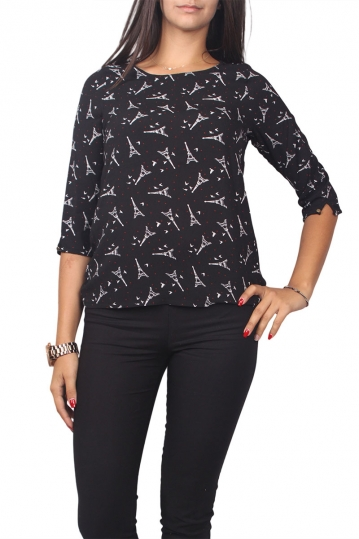 Migle + me all over print top with 3/4 sleeves