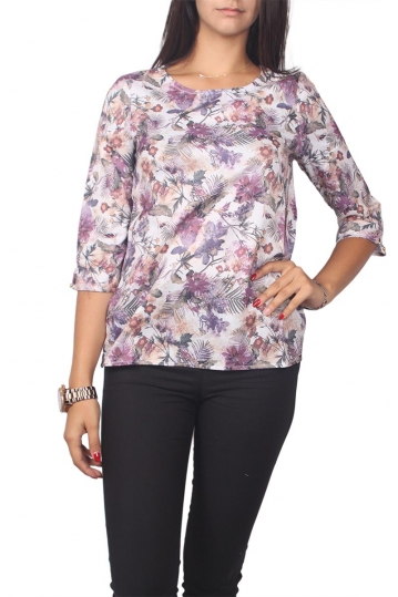 Migle + me floral top with 3/4 sleeves