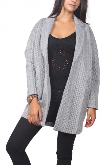 Soft Rebels Unni open front cocoon blazer light grey