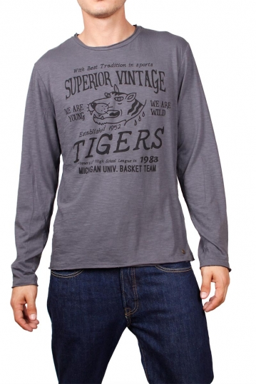 Superior Vintage long sleeve tee dark grey marl