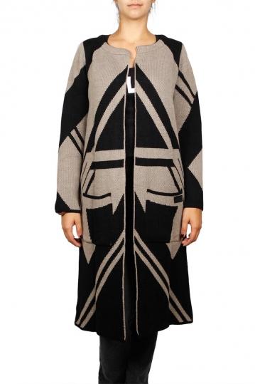Agel Knitwear longline cardigan black-beige