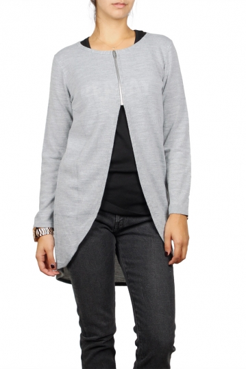 Agel Knitwear zip front tunic in grey melange