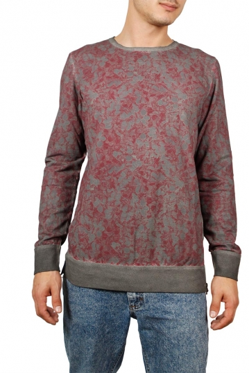 Men's long sleeve Flower tee grey