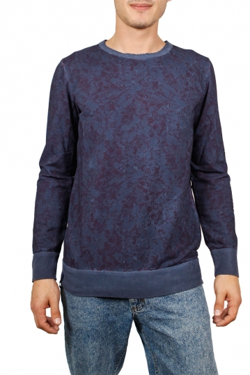 Men's long sleeve Flower tee blue