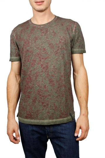 Men's T-shirt olive with bordeaux print