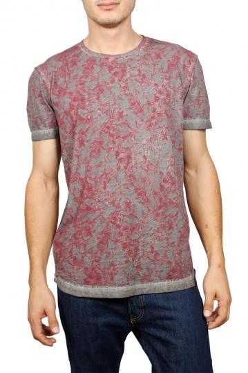 Ανδρικό T-shirt γκρι με μπορντό πριντ