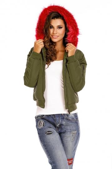 Padded bomber jacket with fuchsia fur trim hood