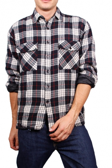 Quilted lined vintage check flannel shirt black and white