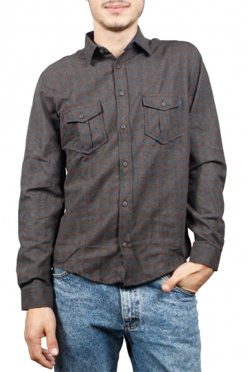 Men's brown-grey check flannel shirt