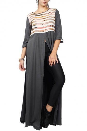 Arpyes maxi tunic grey with splits