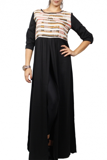 Arpyes maxi tunic black with splits