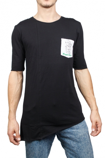 Longline t-shirt black with Paperino's pocket